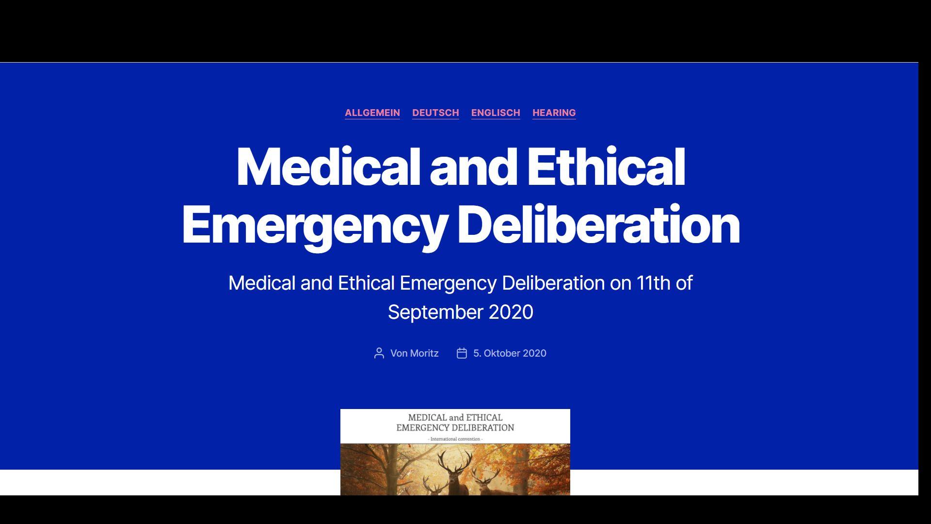 Orvosi és etikai sürgősségi tanácskozás Hollandiában (Driebergenben) szeptember 11-én