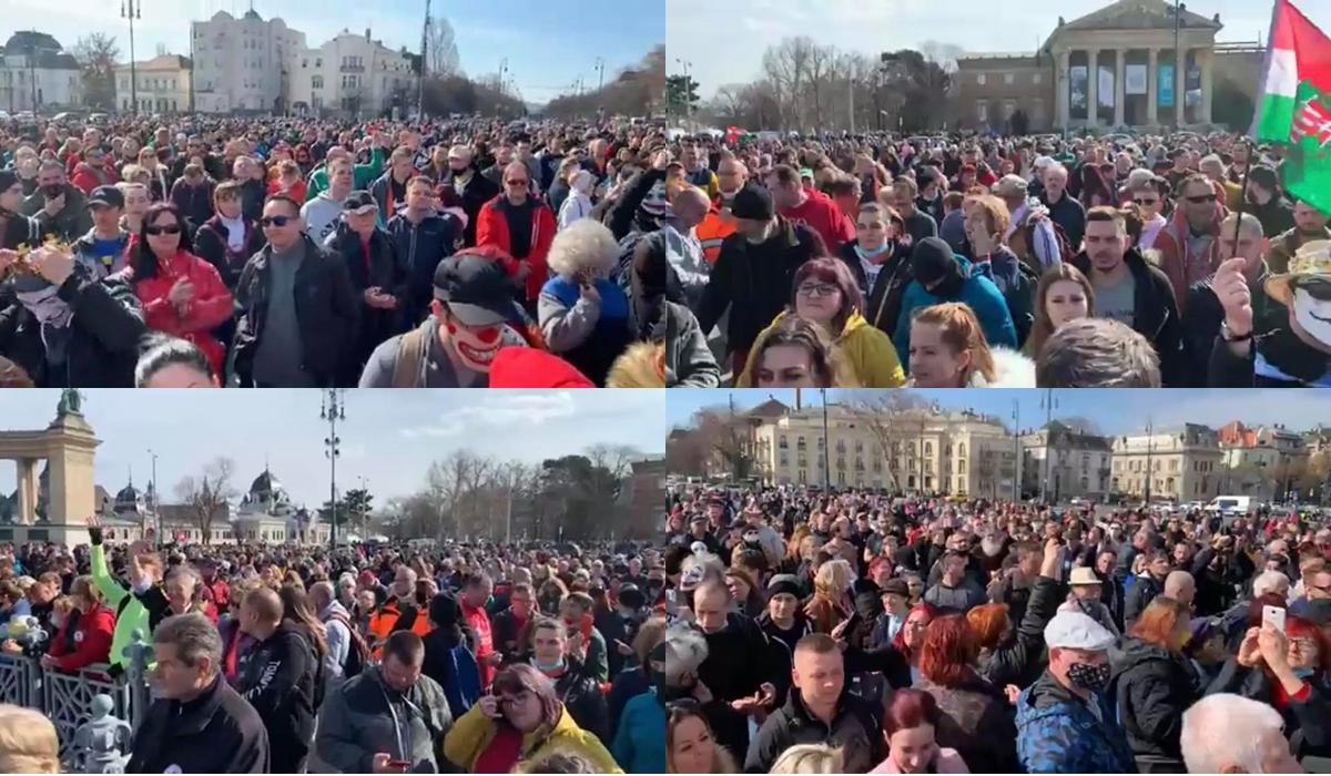 Több ezer ember hangjától zengett a Hősök tere